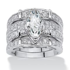 Silver Marquise Cut 3 Piece Multi Row Bridal Ring Set Cubic Zirconia,