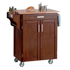 Cherry Finish Create a Cart  with Wood Top ,