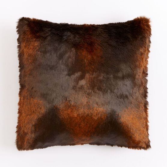 "Luxe Faux Fur 18"" Sq. Pillow, BROWN"