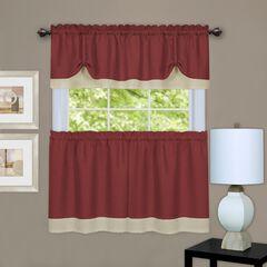 Darcy Window Curtain Tier and Valance Set, MARSALA TAN
