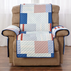 Printed Faux Patchwork Recliner Protector, MULTI