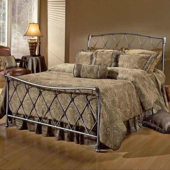 King Bed with Bed Frame, 83½'Lx79½'Wx48½'H, ANTIQUE PEWTER