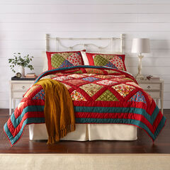 Ginger Patchwork Quilt, RED GREEN