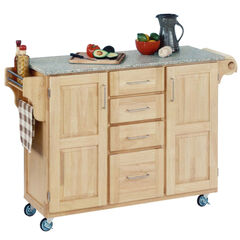 Large Natural Finish Create a Cart with Salt & Pepper Granite Top ,