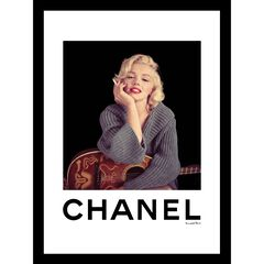 "Marilyn Monroe with Guitar Grey 14"" x 18"" Framed Print,"