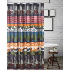 Black Bear Lodge Shower Curtain by Greenland Home Fashions,