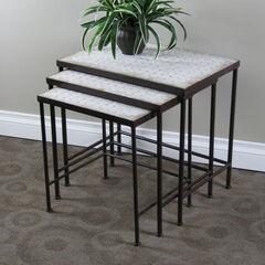 3-Pc. Travertine Nesting Tables ,