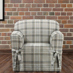 Highland Plaid Relaxed-Fit Chair Slipcover ,