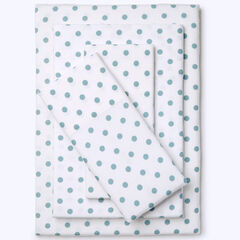 Cotton Flannel Print Sheet Set, SOFT BLUE DOT