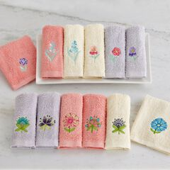 Floral Washcloths, Set of 6 ,