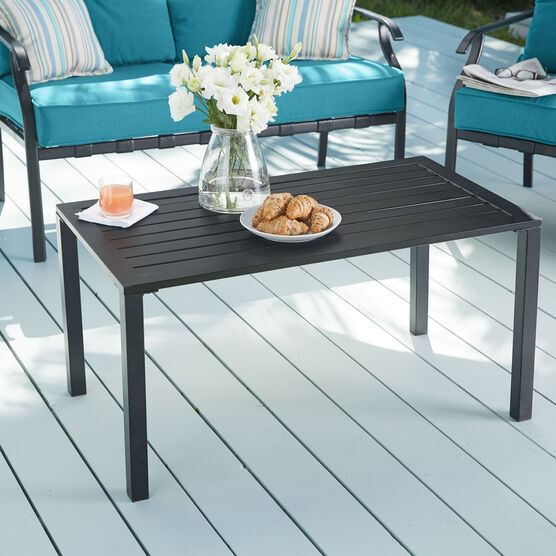 Steel Slat Coffee Table, TEAL