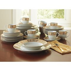 Medici 40-Pc. Golden Ceramic Dinnerware Set,