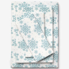 Cotton Flannel Print Sheet Set, SOFT BLUE SNOWFLAKE