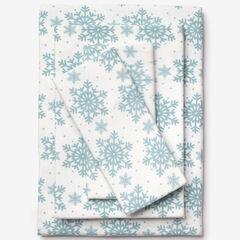Cotton Flannel Print Sheet Set, SOFT BLUE SNOWFLAKE