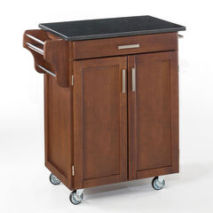 Large Cherry Finish Create a Cart with Black Granite Top ,