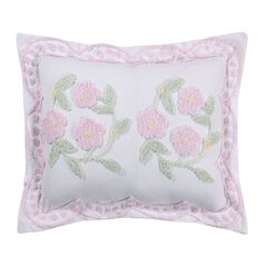 Bloomfield Collection in Floral Design 100% Cotton Tufted Chenille Standard Sham by Better Trends, ROSE