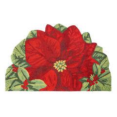 Large Half-Round Poinsettia Mat ,
