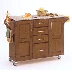 Large Cottage Oak Finish Create a Cart with Salt & Pepper Granite Top,