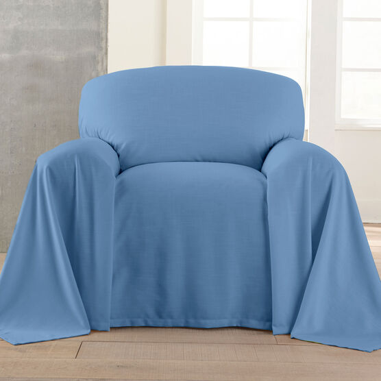 Dani Dropcloth-Style Chair Cover , BLUE