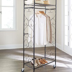 Scrolled Metal Rolling Closet, WHITE