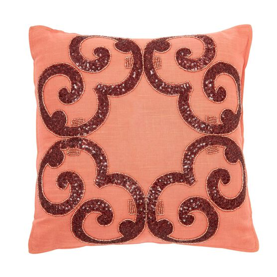 "Fatima 18"" Embellished Pillow, SOFT CORAL"