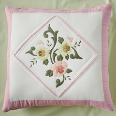 "Ava Embroidered Cotton 16"" Square Pillow, BLUSH"