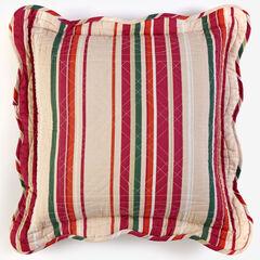 "Florence 16"" Square Pillow, BURGUNDY STRIPE MULTI"