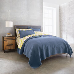 Theo Stonewash Geometric Quilt, ANTIQUE BLUE
