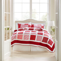 Suma Patchwork Quilt, RED WHITE