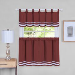 Dakota Window Curtain Tier Pair and Valance Set, BURGUNDY
