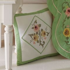 """Ava Embroidered Cotton 16"""" Square Pillow, GREEN"""