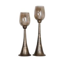 Badal Antiqued Gold Candle Holders, Set of 2,