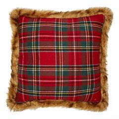 Plaid Faux Fur Trim Decorative Pillow,