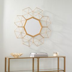 Villani Oversized Gold Sunburst Mirror,