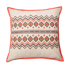 Aztec-Inspired Printed Pillow With Piping,