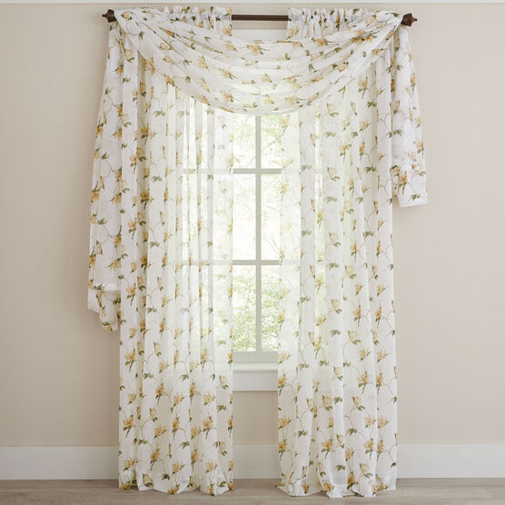 Chancellor Crushed Voile Scarf Valance, YELLOW