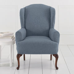 BH Studio Ikat Stretch Wing Chair Slipcover, DUSTY BLUE