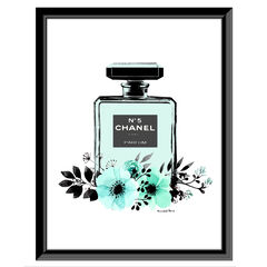 Chanel Bottle Floral - Teal / White - 14x18 Framed Print,