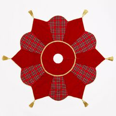Plaid Tree Skirt with Tassels,
