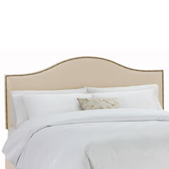 """King Size Upholstered Curved Top Nail Button Border Headboard, 78""""Lx4""""Wx51""""H, OATMEAL"""
