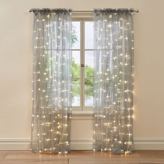 "84"" Pre-Lit Rod-Pocket Curtain Panel ,"