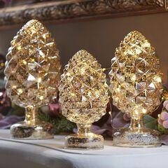 Pre-Lit Mercury Glass Pinecones, Set of 3,