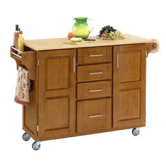 Large Cottage Oak Finish Create a Cart with Wood Top,