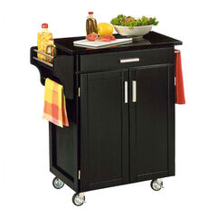 Black Finish Create a Cart with Black Granite Top ,