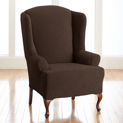 BH Studio Brighton Stretch Wing Chair Slipcover, CHOCOLATE