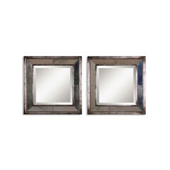 Davion Squares Silver Mirror, Set of 2,