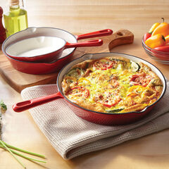 3-Pc. Cast Iron Enameled Skillet Set, RED