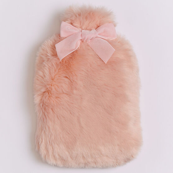 Plush Faux Fur Hot Water Bottle & Holder, SOFT PINK