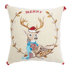Merry Deer Decorative Pillow,