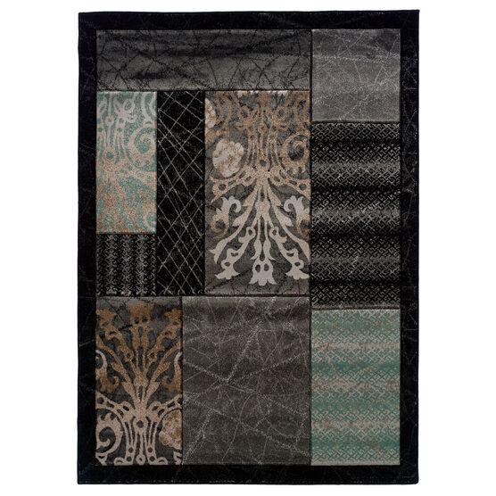 Milan Black/Black 2'X3' Area Rug, BLACK BLOCK